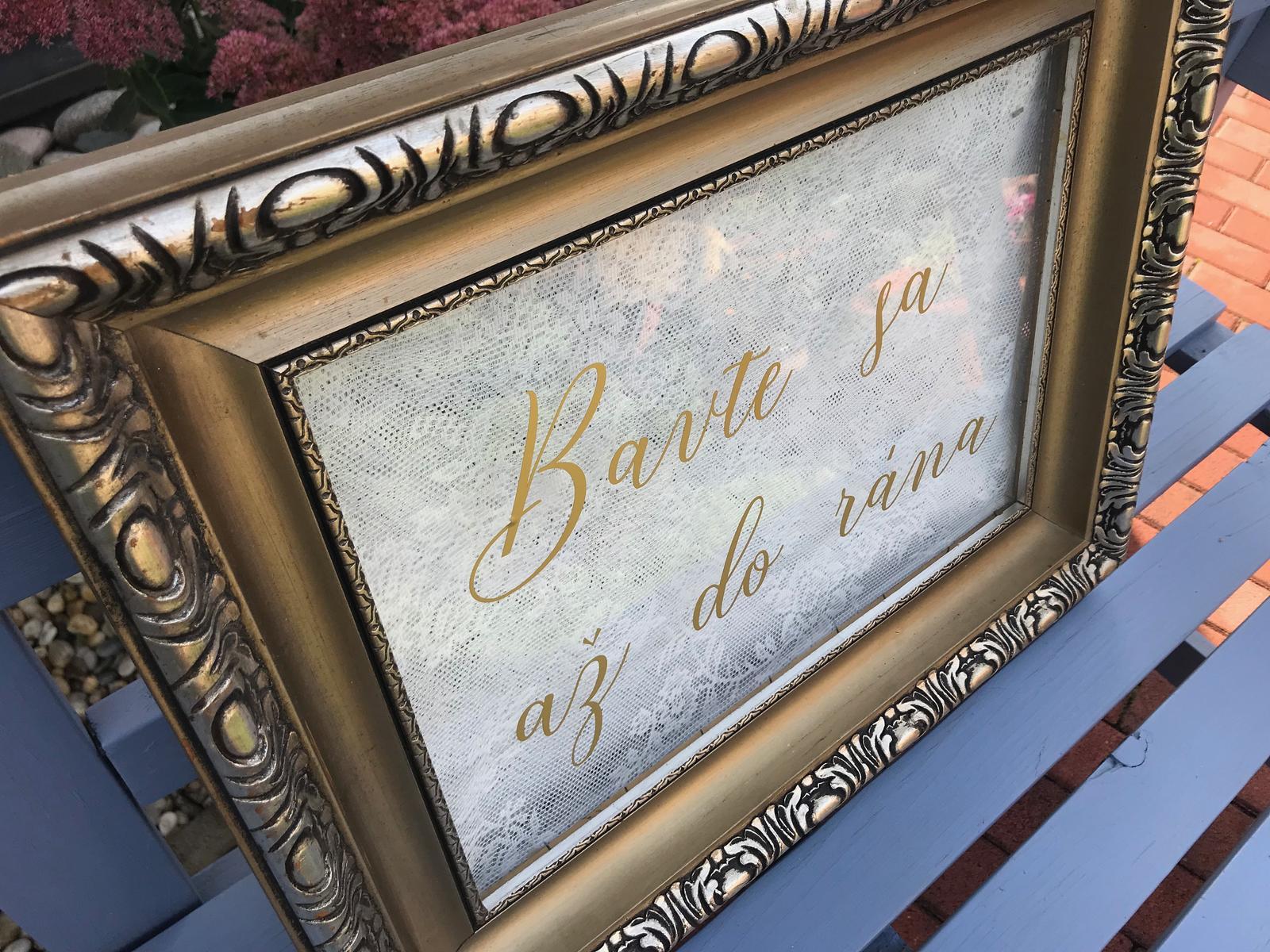 Veľký rám s metalickou zlatou nálepkou Bavte sa - Obrázok č. 1