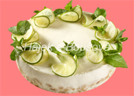 kulatý dortík - tvarohový zdobený mátou a limetkou