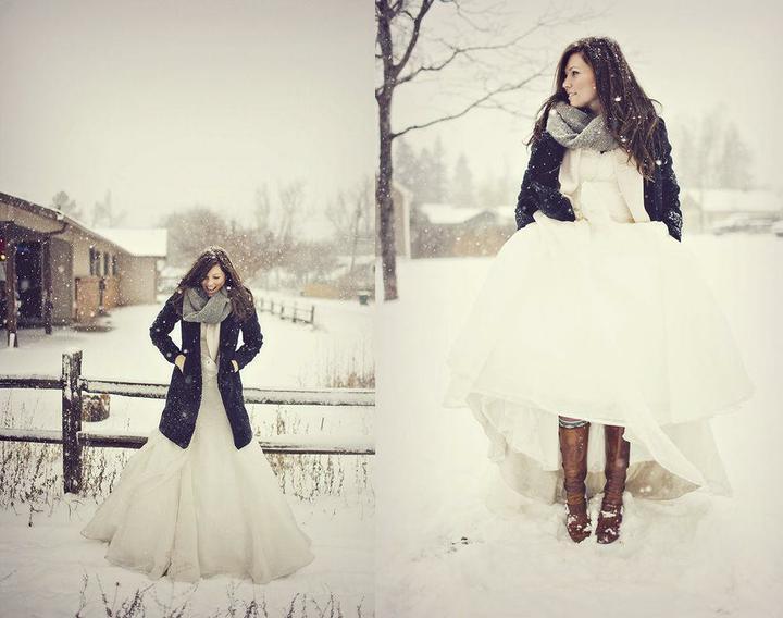 V přírodě - kabát,nevěsta nemusí zmrznout ve svatební den