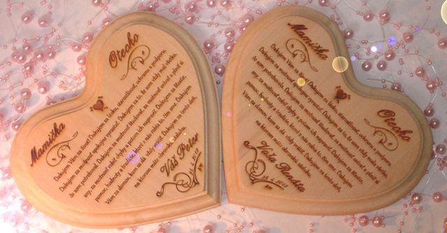 Netradičné doplnky Vašej svadby - Poďakovanie rodičom na lipovom dreve
