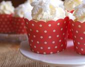 Puntíkované košíčky na cupcakes, červené,
