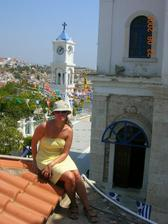na streche kostoliku v Samose, mestecko Pythagorio