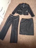 Nohavicový kostým + sukna, 44