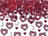 Metalické konfety - Vzorované srdiečka - Červené,