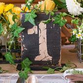 Rustikálne čísla na stoly s držiakom-čísla 1-6,
