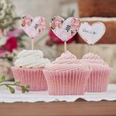 Menovky na Muffiny - Ružové Kvety (10ks),