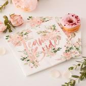 Papierové Servítky - Kvety - Ružovo Zlatá (16ks) ,