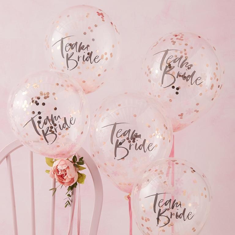 Konfetové Balóny - Ružová (30cm) - (5ks) - Obrázok č. 1