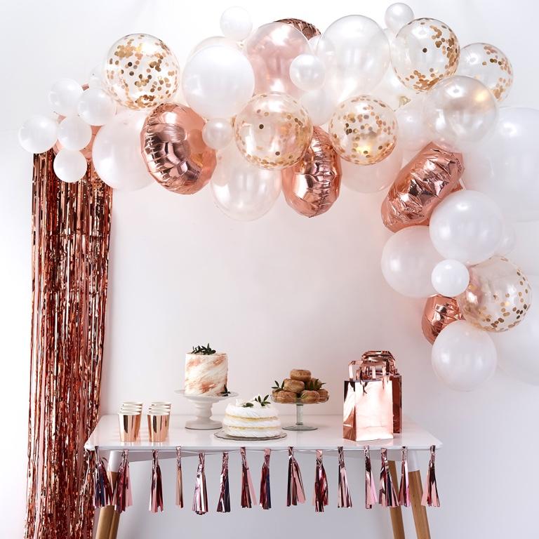 Balónová Brána - Ružovo Zlatá (70ks) - Obrázok č. 1