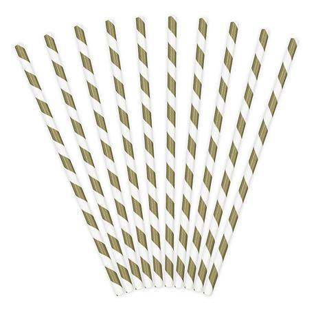 Papierové Slamky - Prúžky - Matná Zlatá (10ks) - Obrázok č. 1
