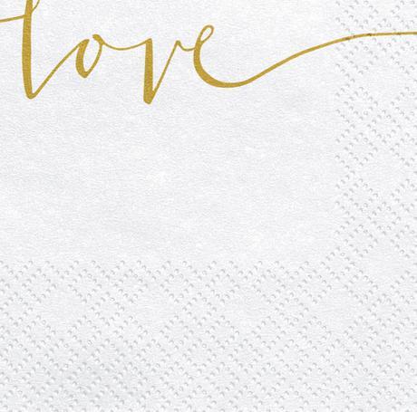 Papierové Servítky - Love - Zlatá (20ks) - Obrázok č. 2