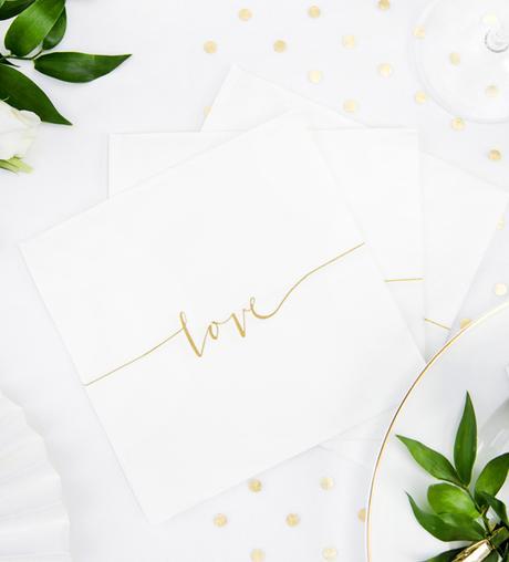Papierové Servítky - Love - Zlatá (20ks) - Obrázok č. 1
