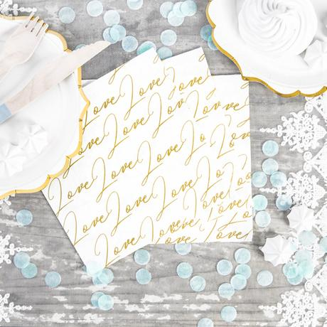 Papierové Servítky - Love Love - Zlatá (20ks) - Obrázok č. 1