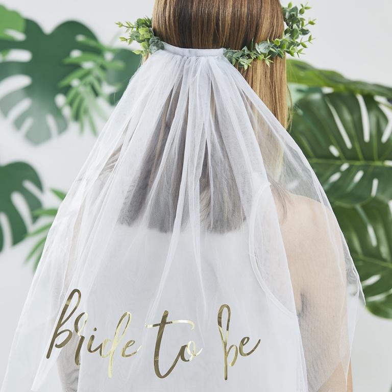 Závoj s Venčekom - Bride to Be - Zelená - Obrázok č. 1