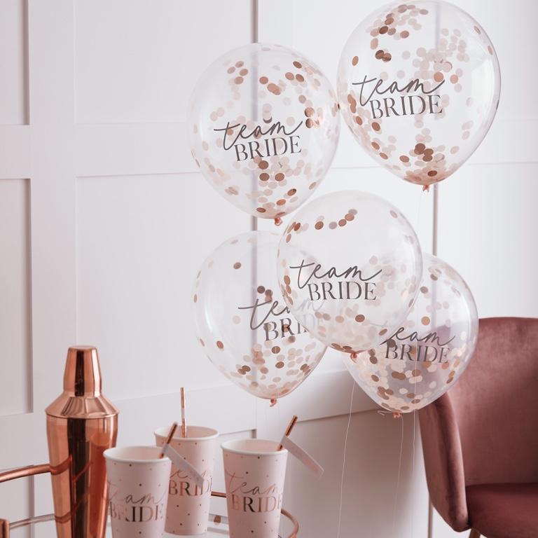 Konfetové Balóny - Púdrovoružová (30cm) - (5ks) - Obrázok č. 1