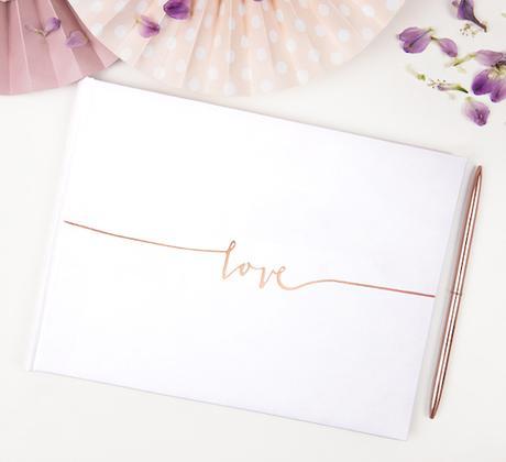 Kniha pre Hostí - Love - Biela a Ružovo Zlatá - Obrázok č. 1