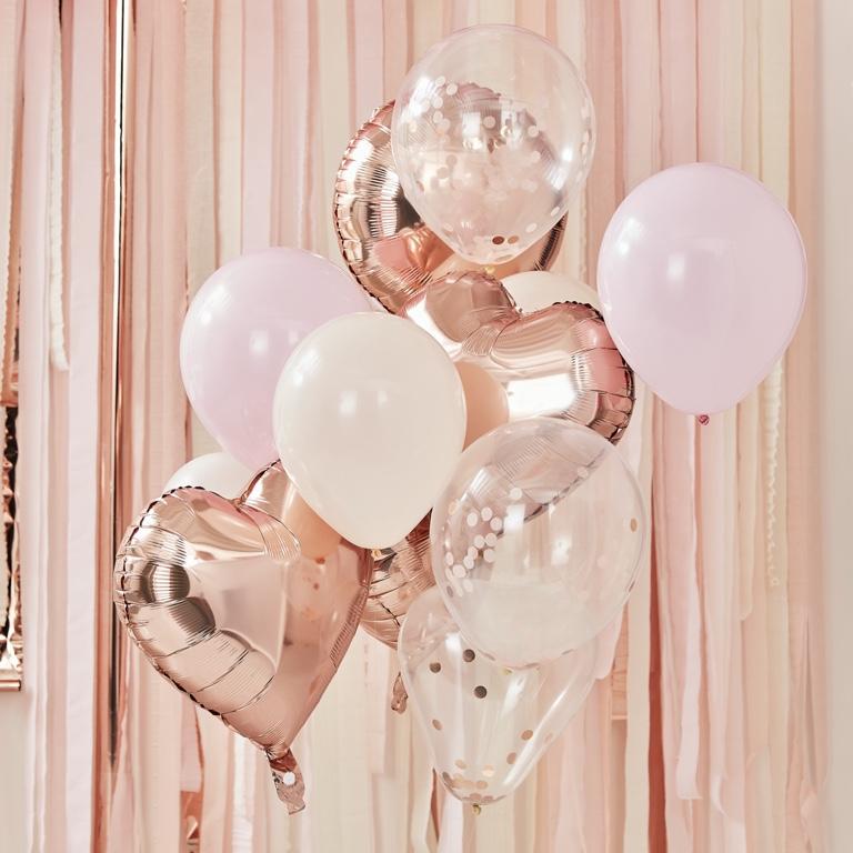 Balónový set - Púdrová & Ružovo Zlatá (12ks) - Obrázok č. 1