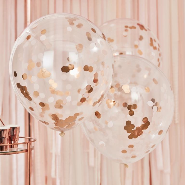 Konfetové Balóny - Veľké - 55 cm - Ružovo Zlatá (3ks) - Obrázok č. 1