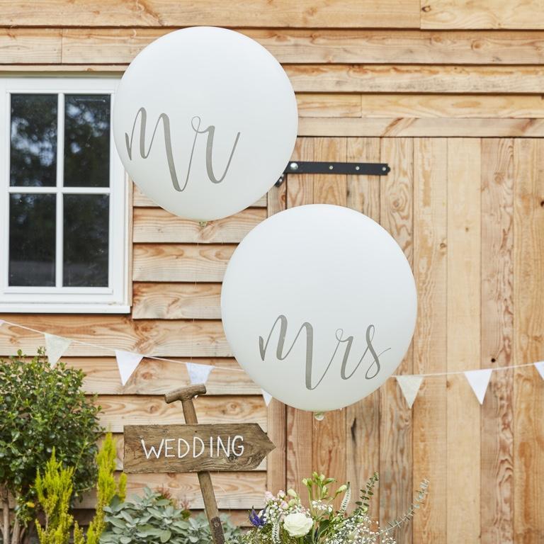 Mega Balóny Mr a Mrs - Biela - 90 cm - Rustic Country (2ks) - Obrázok č. 1