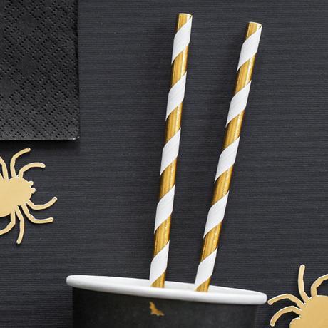 Papierové Slamky - Prúžky - Trblietavá Zlatá (10ks) - Obrázok č. 1