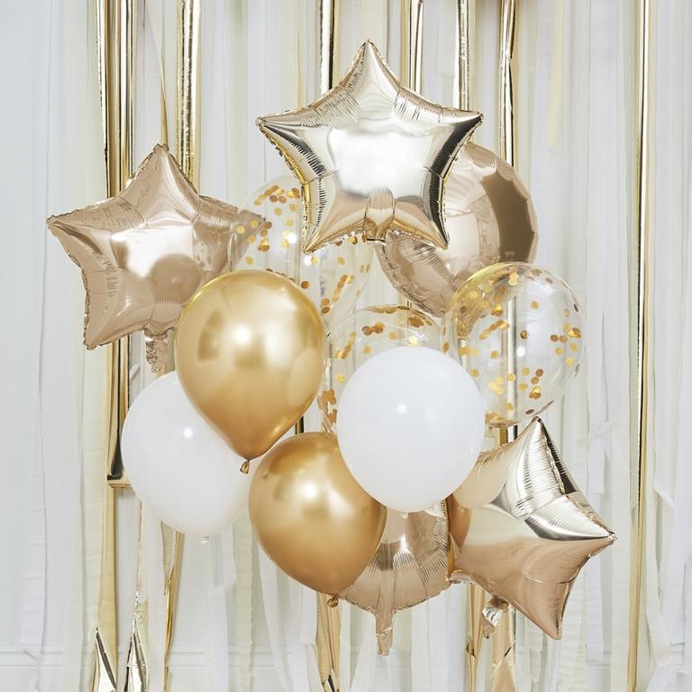 Balónový set - Metalická Zlatá & Biela (12ks) - Obrázok č. 1