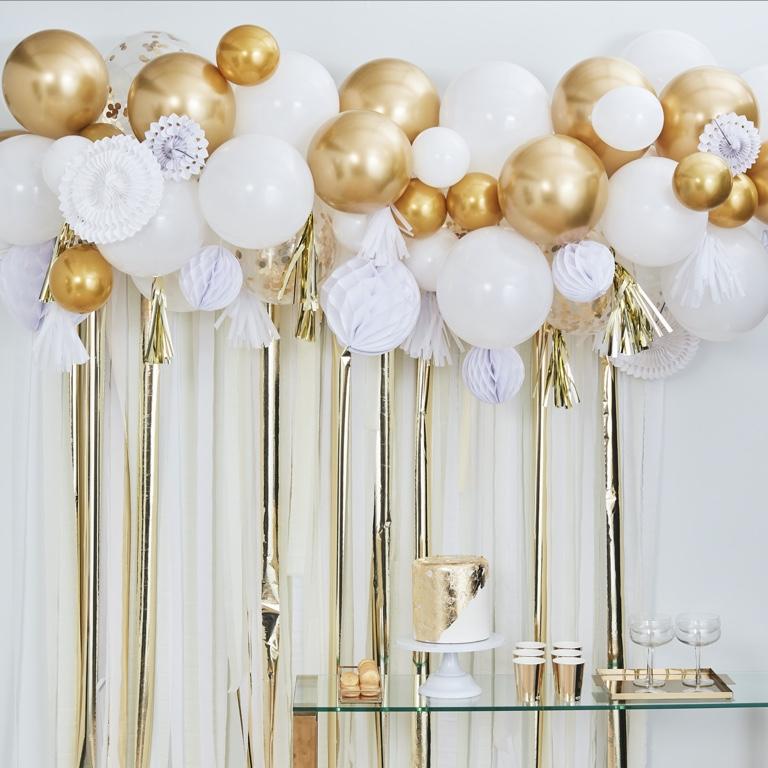 Set - Balóny a Rozety - Biela & Zlatá (98ks) - Obrázok č. 1