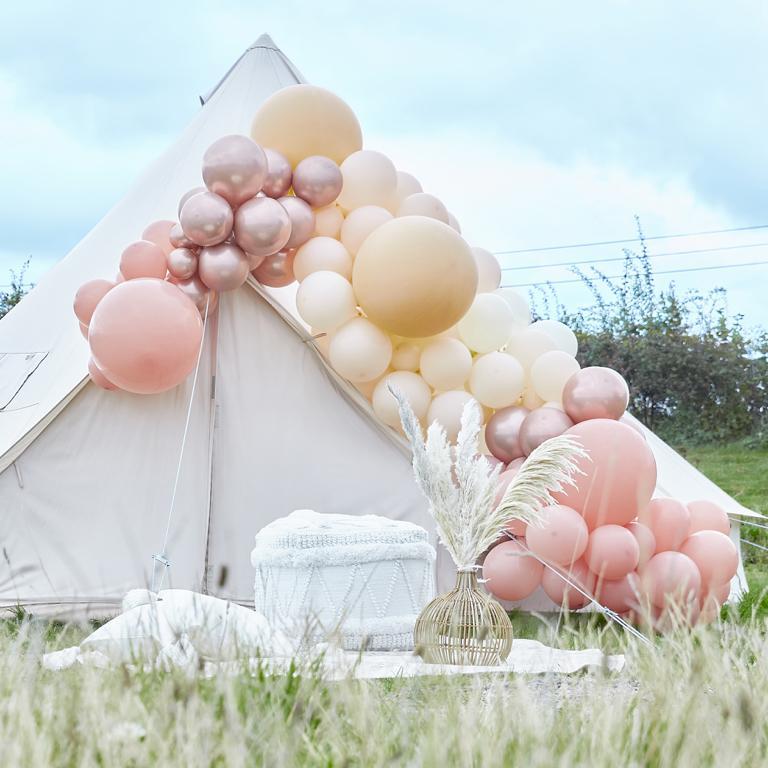Balónová Brána - Púdrovo Ružová, Ivory & Ružovozlatá (200ks) - Obrázok č. 1
