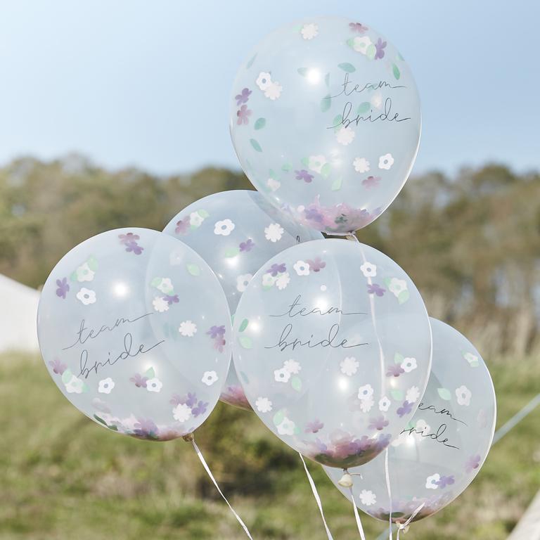 Konfetové Balóny - Kvietky - Team Bride (5ks) - Obrázok č. 1