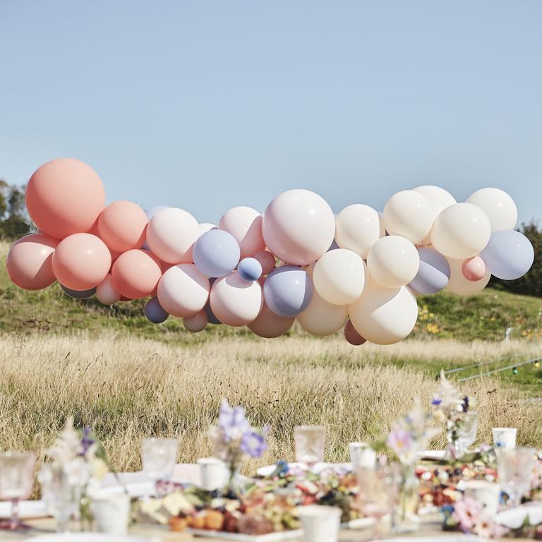 Balónová Brána - Púdrová, Telová a Modrá (60ks) - Obrázok č. 1