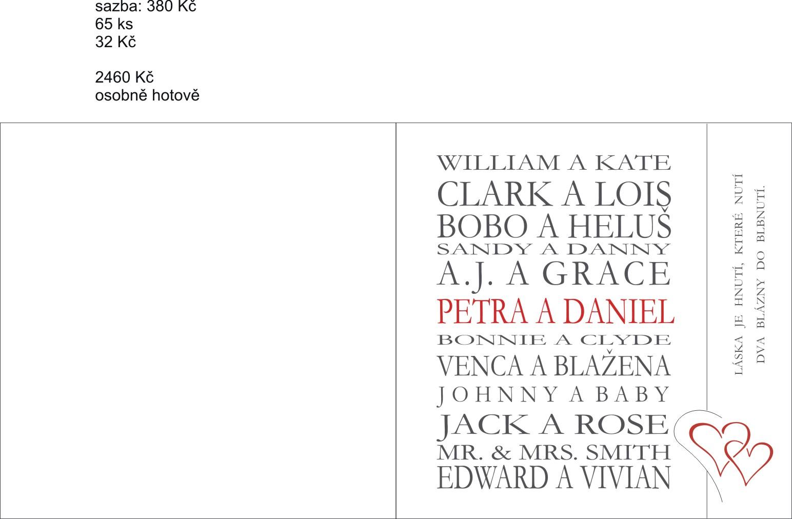 Začínáme se připravovat :-) - Máme - už se tiskne :-) jména slavných párů jsme sestavily sami :-)