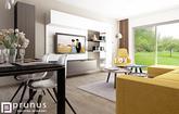 Moderná obývačka s kuchyňou spolu I interiérové štúdio PRUNUS
