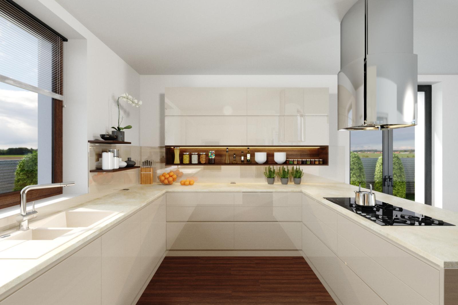 Moderná lesklá kuchyňa v kombinácii s orechom - Moderná lesklá kuchyňa v kombinácii s orechom - návrh kuchyne a výroba na mieru PRUNUS interiéry