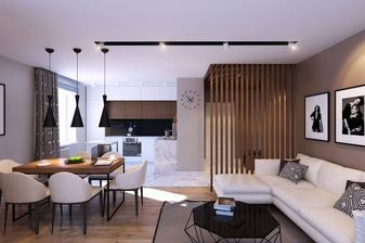 Obývací pokoj s kuchyní a jídelním stolem