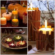 sviecky zdobene skoricou, previazane spagatikom, zdobene sipkami a jesennymi plodmi, fazulou a semenami