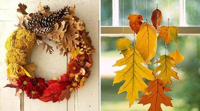 vencek jesenny a jednoducha ozdoba - zavesene listy
