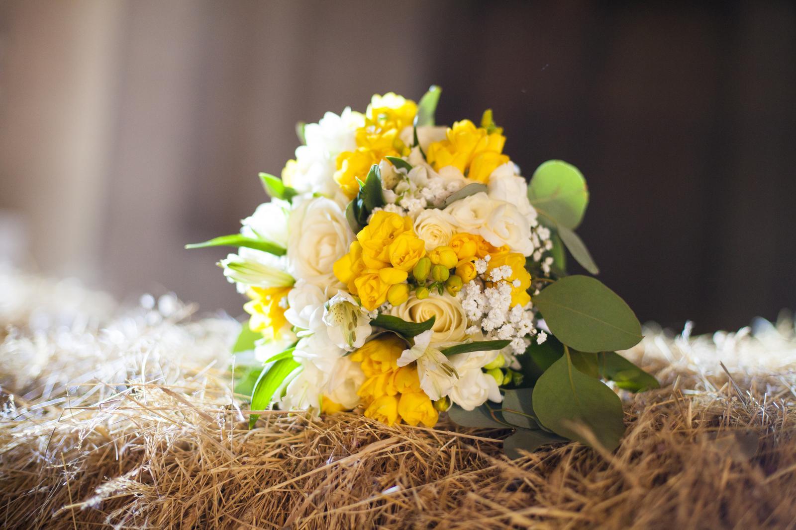 Nicola{{_AND_}}Vítek - Květiny Babeta - složení bylo žluté a bílé frézie, bílé růže, nevěstin závoj a eukalyptus