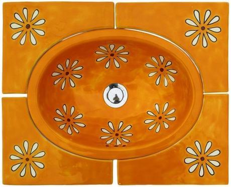 Zápustné umývadlo oválne malé Amapola Amarilla s rohovými dlaždicami - Obrázok č. 1