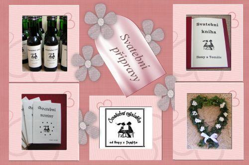 Ilči{{_AND_}}Tom - Vlastní výroba : Svatební víno, Sv.noviny, Sv.kniha, cedulky na výslužky a ozdoba na ženichovo auto
