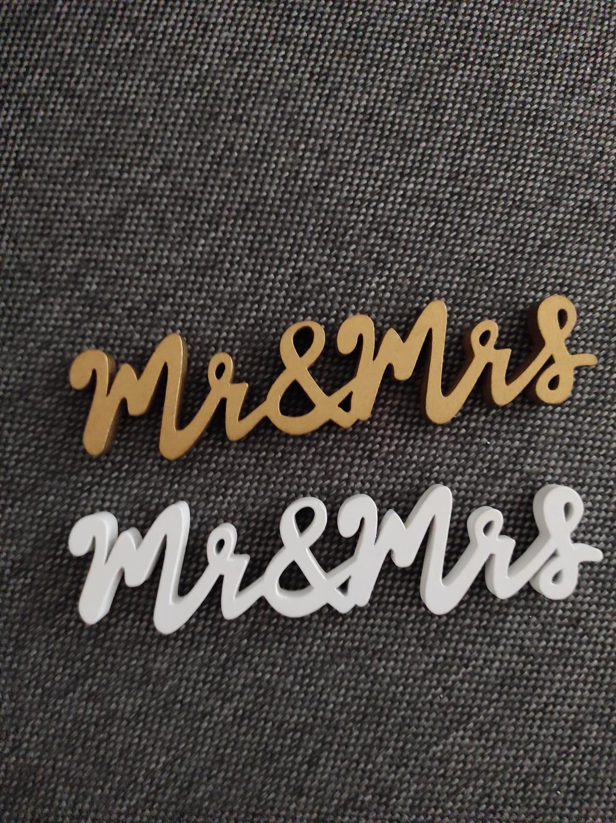 Dřevěné nápisy Mrs Mr - 2ks - Obrázek č. 1