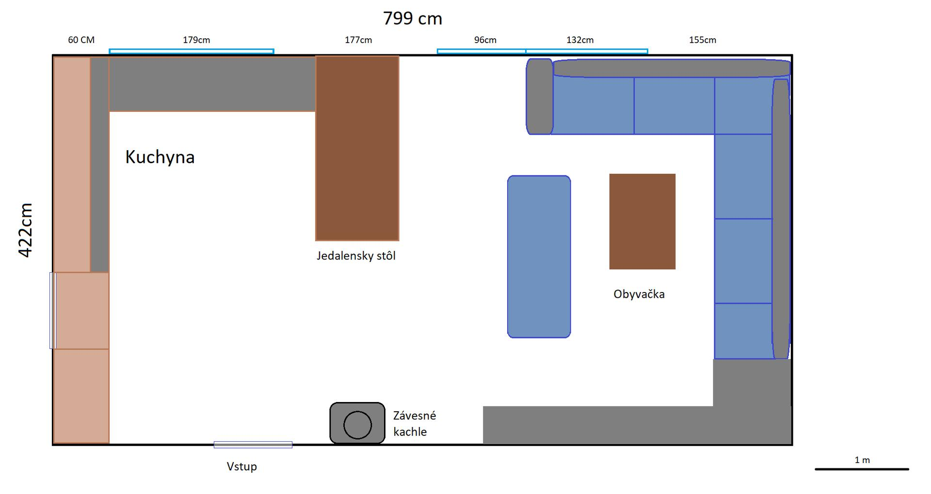 Úplná rekonštrukcia RD - Návrh rozloženia obývačky