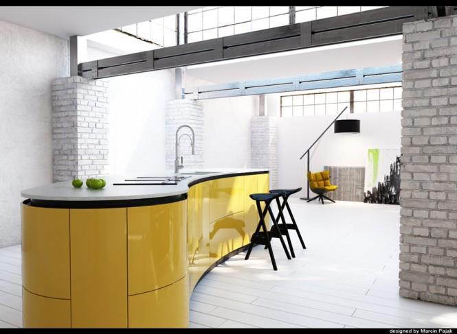 Žltou oživené... - krásny priestor, asi nejaká stará továreň
