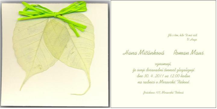 Hana Mičánková{{_AND_}}Roman Maus - Naše oznámení