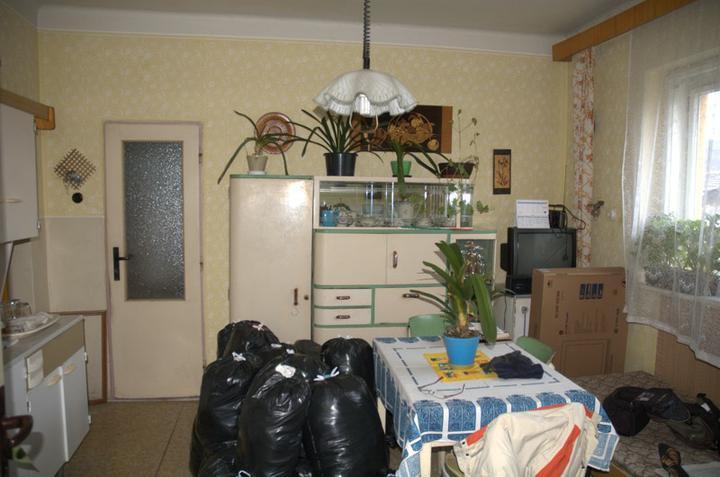 Od začátku do ... - Kuchyň ještě vcelku a s hromadou věcí sbalených do kontejneru s oblečením...