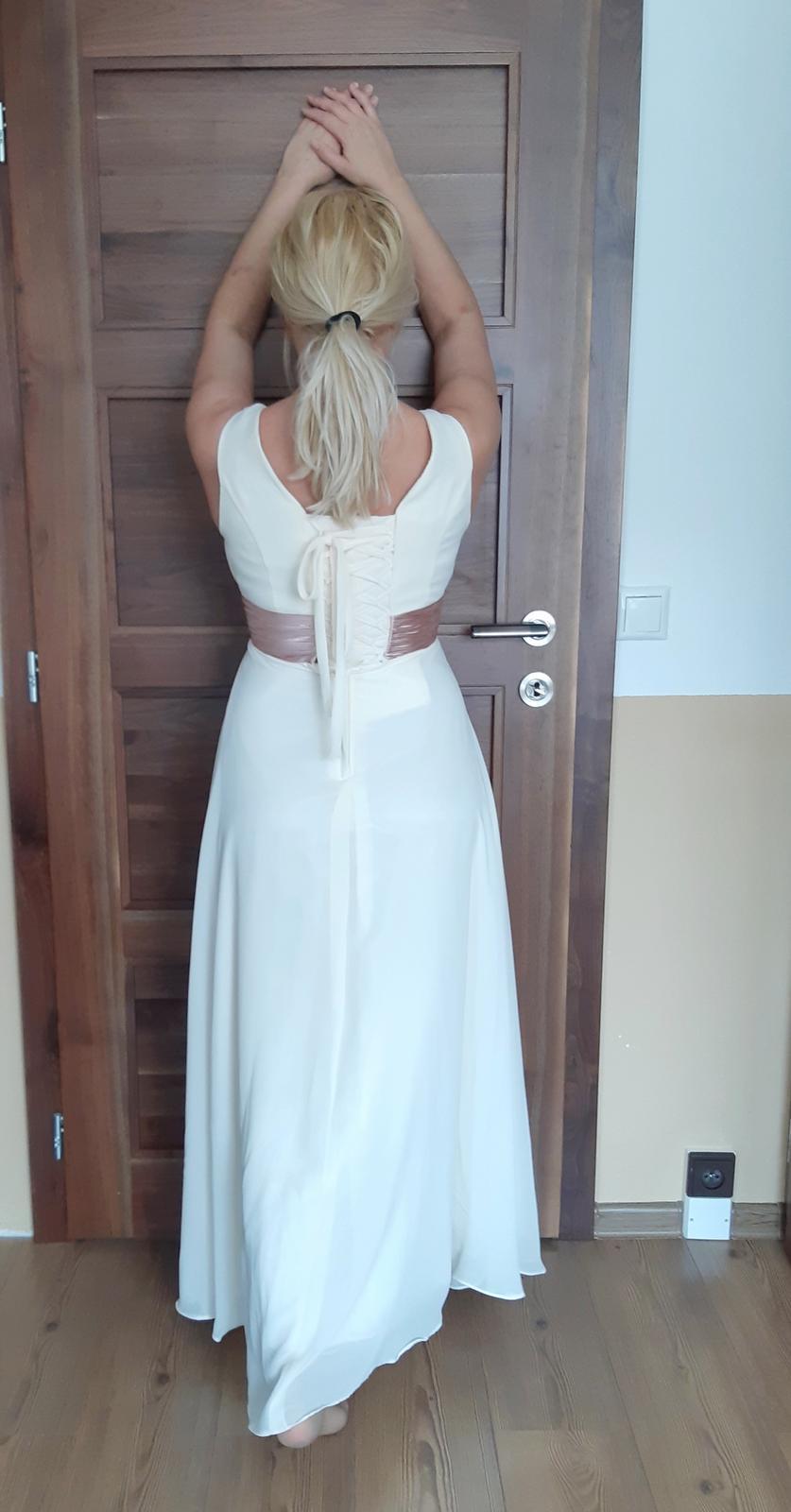 Šifónové šaty vo farbe šampaň - Obrázok č. 2