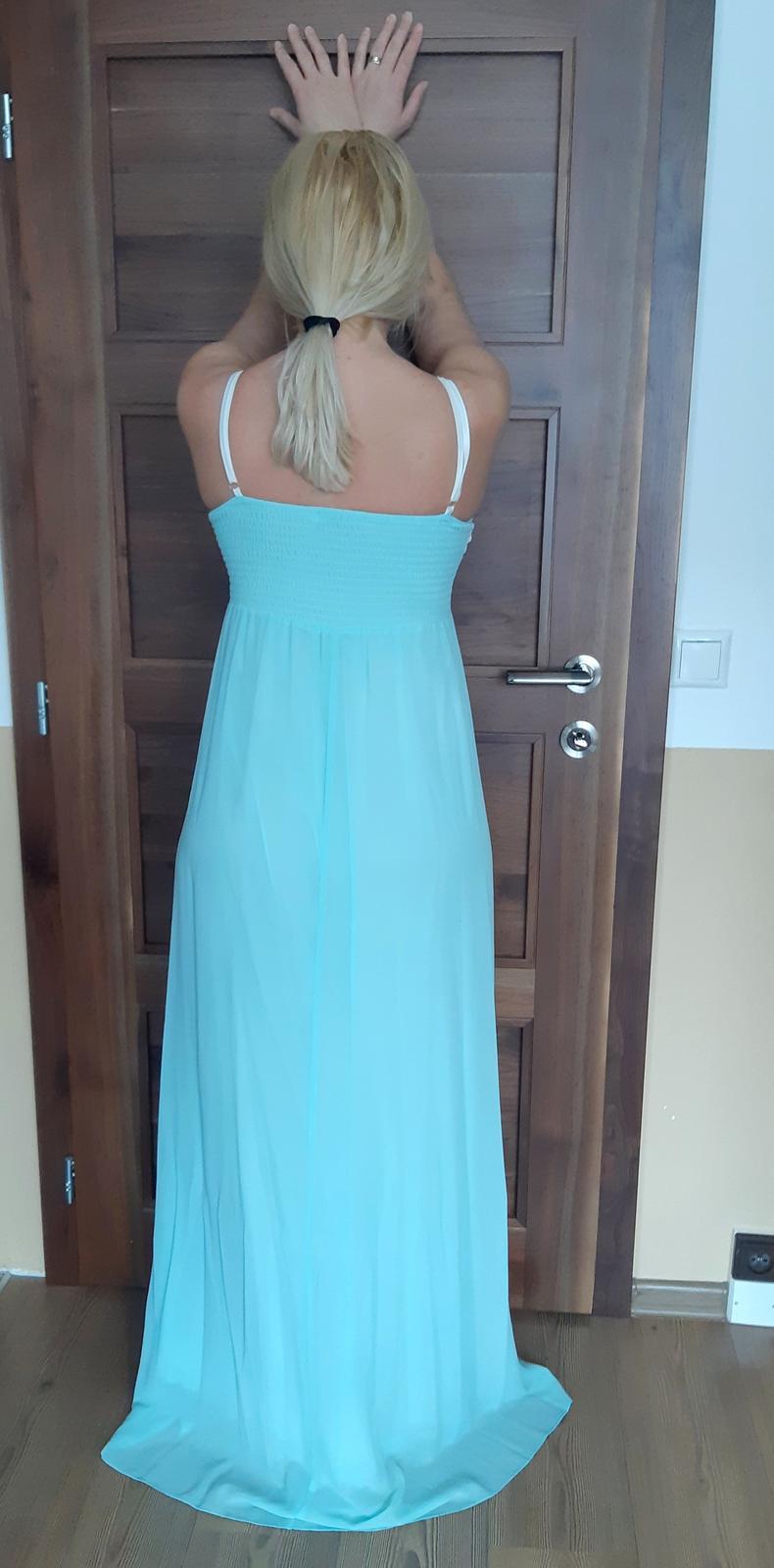 Tyrkysové dlhé šaty - Obrázok č. 3