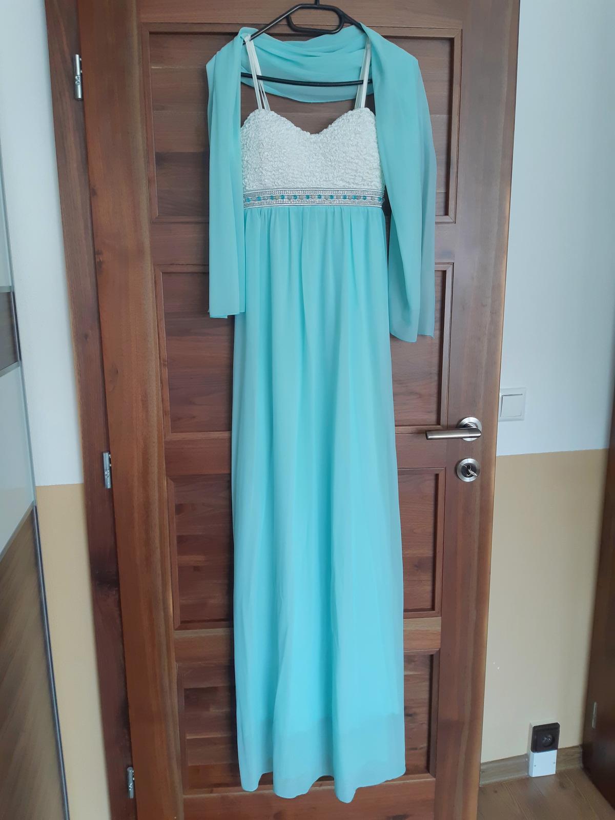 Tyrkysové dlhé šaty - Obrázok č. 1