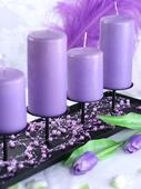 Perličky na silonu 5 ks lila,