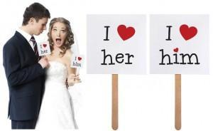 "cedulky ""I love him"", ""I love her"", 2 ks. - Obrázek č. 1"