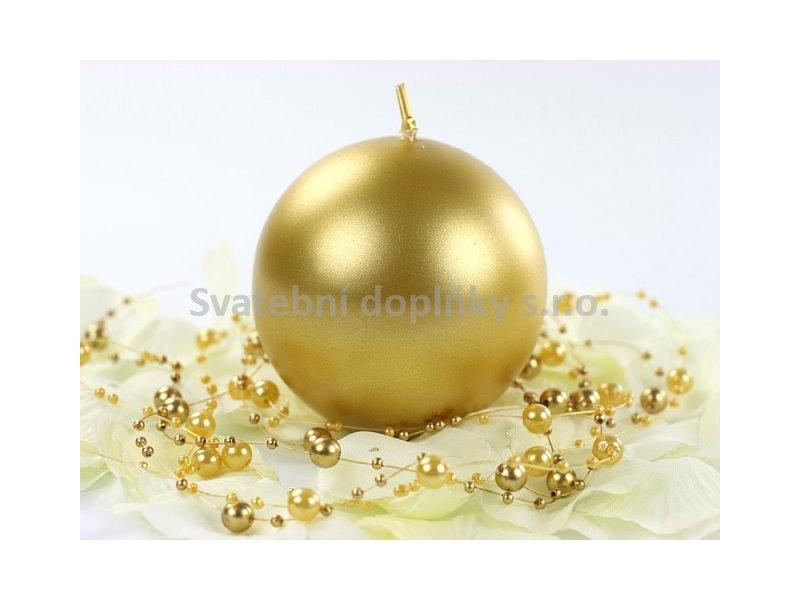 Kulatá svíčka zlatá perleťová - Obrázek č. 1