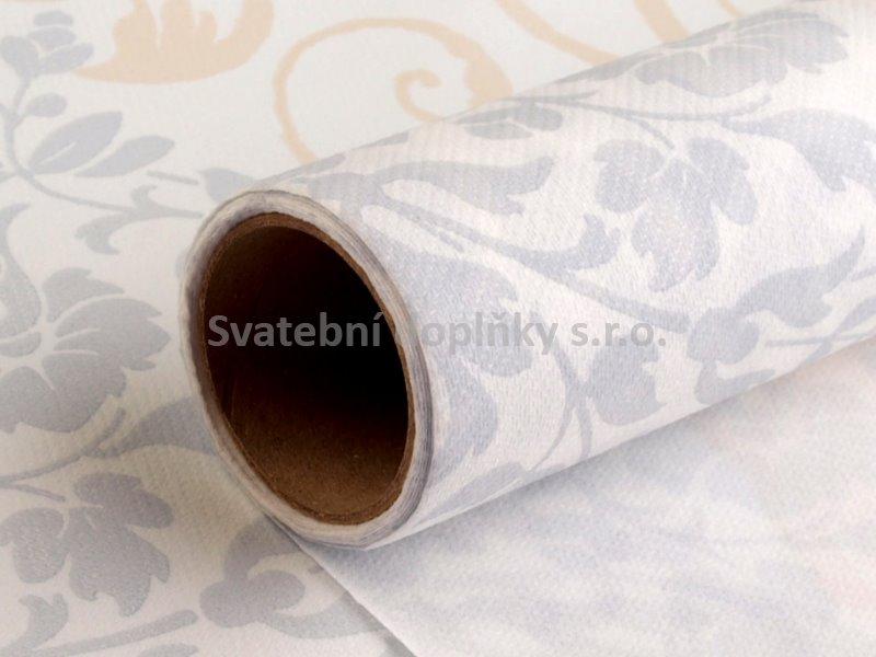 Šerpa papírová bílá se zlatým a stříbrným dekorem - Obrázek č. 1